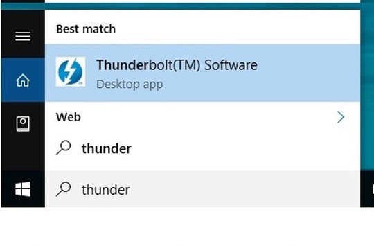 Depiction of the Thunderbolt Software found via Windows Search