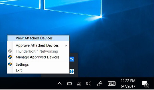 "Pop up highlighting  ""View Attached Devices""  while right clicked on the Thunderbolt Icon"
