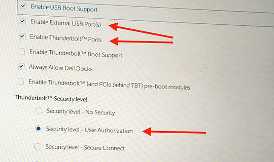 "Step 4 depicted with arrows pointing at system ""Enable External USB Ports(s)"", ""Enable Thunderbolt Ports"", Security Level - User Authorization"""