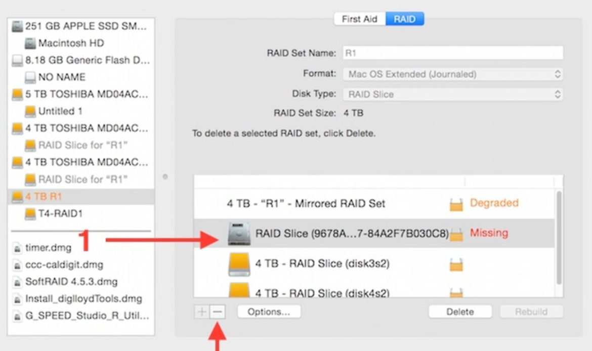 Select Missing RAID 1 disk in Apple Disk Utility