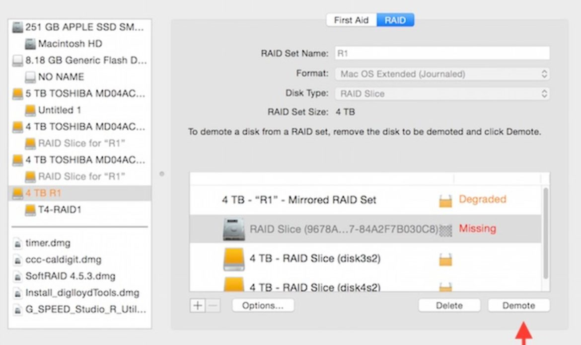 Arrow pointing to demote button in Apple Disk Utility with Missing RAID 1 disk selected
