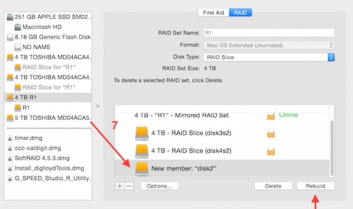 Arrow pointing to newly listed disk member after being dragged to degraded RAID array set. Arrow pointing to rebuild button in Apple Disk Utility.