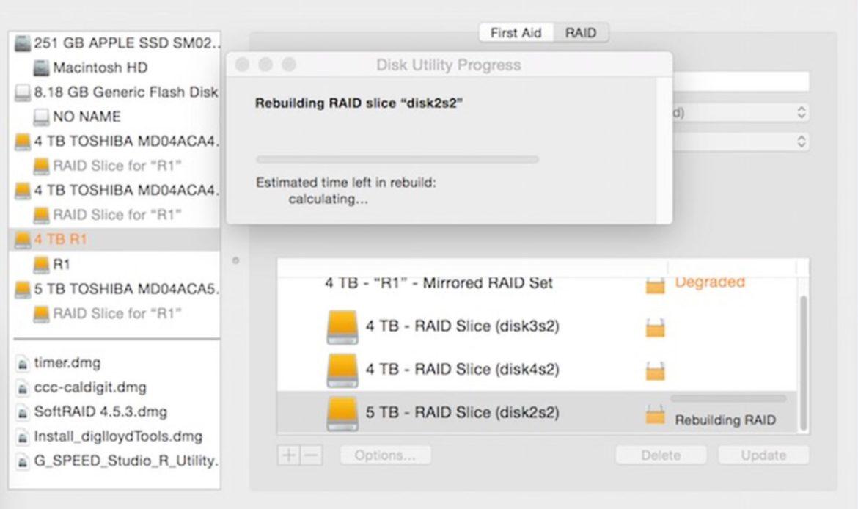 Rebuild progress window in Apple Disk Utility.