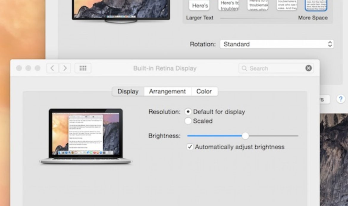 MacOS Display Preferences for each connected Display after clicking Gather Windows button