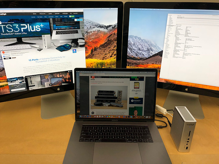 An example of two external monitors working from the TS3 Plus.