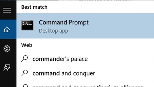 An image of Command Prompt in Windows search.