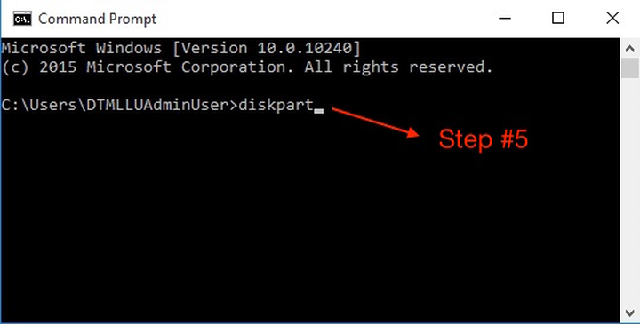 """""""diskpart"""" typed in to the Command Prompt, per step 5."""