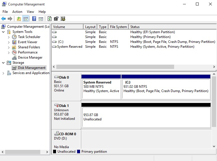 Disk Management Tool with the EFI portioned drive now completely unallocated.