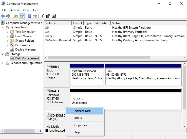 """The previous drive has been right clicked and says """"Initialize Disk"""""""