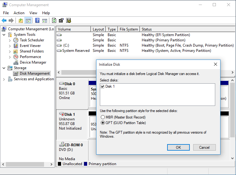 The Initialize Disk menu, showing partition styles MBR (Master Boot Record) and GPT (GUID Partition Table)