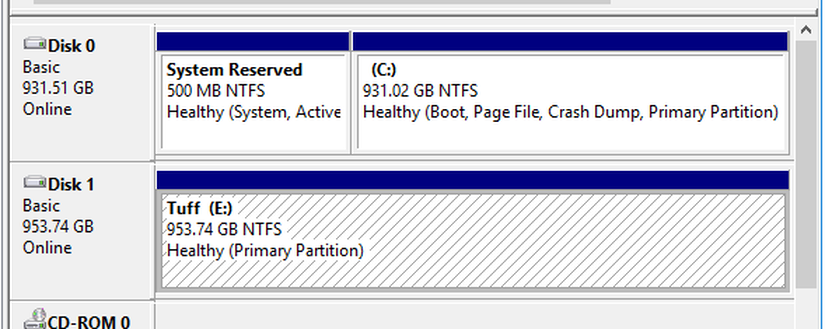 The now allocated drive ready to utilize.