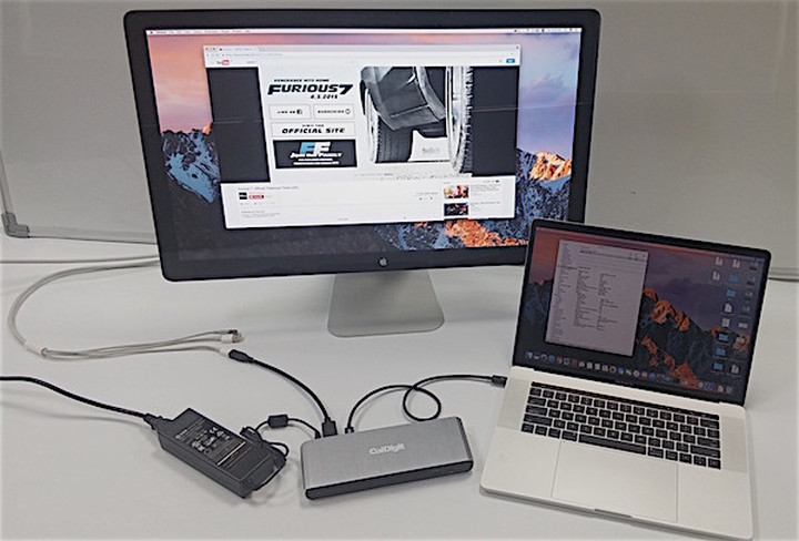 The Apple Cinema Display (pictured) can connect to a TS3 device through an adaptive cable.