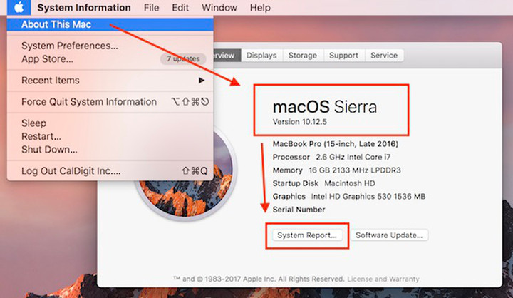 Showing the process described in step 1. Checking macOS version number.