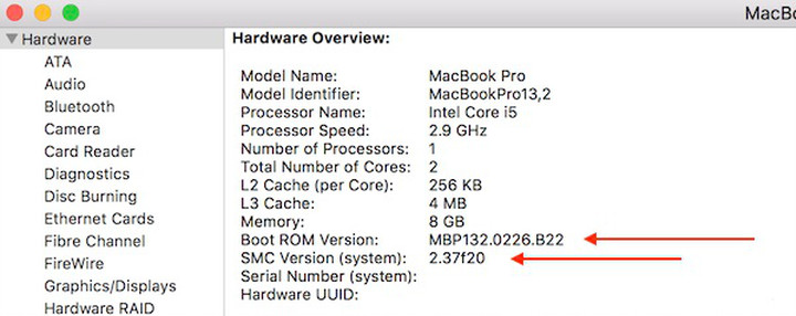 """Showing the Boot ROM Version and SMC Version for 2016 13"""" MacBook Pro described in the above step."""