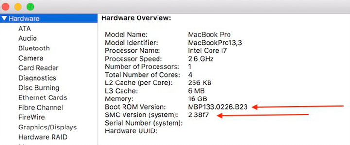 """Showing the Boot ROM Version and SMC Version for 2016 15"""" MacBook Pro described in the above step."""