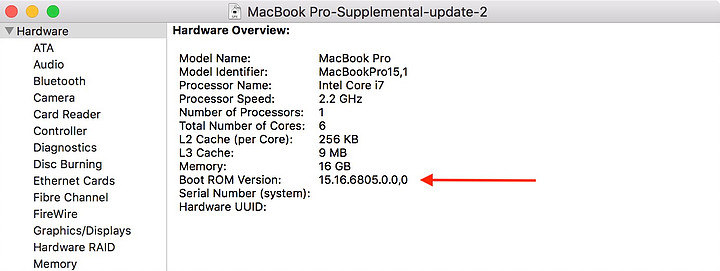 """Showing the Boot ROM Version for 2018 15"""" MacBook Pro described in the above step."""