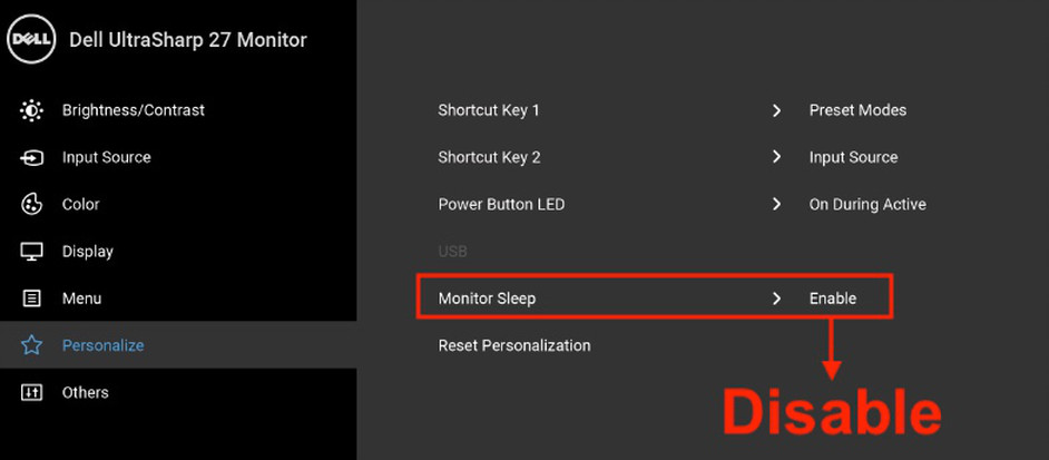 "Dell U2718Q's OSD menu with the setting that controls monitor sleep highlighted. Underneath this is the word ""Disable"" used to indicate that this setting should be disabled."