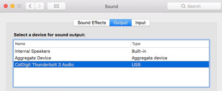 """A picture of the """"CalDigit Thunderbolt 3 Audio"""" sound output device as described in step 3."""
