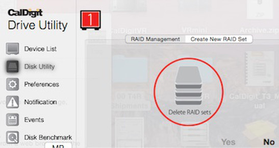 "Depicting ""Delete RAID sets"" icon selected in ""Disk Utility"" window."
