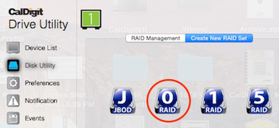 "Depicting ""RAID 0"" icon selected in ""Disk Utility"" window."