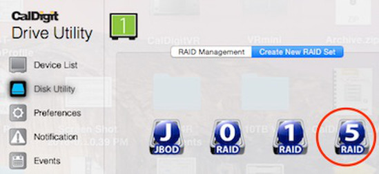 "Depicting ""RAID 5"" icon selected in ""Disk Utility"" window."