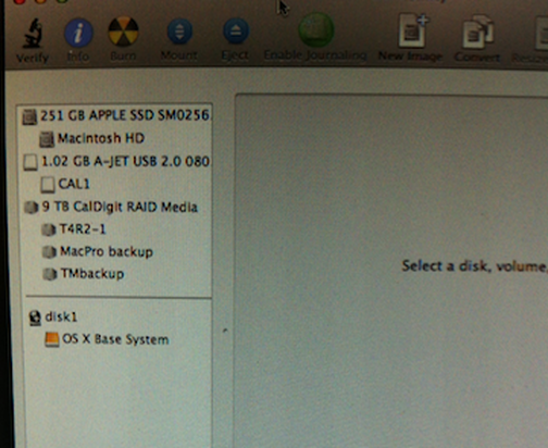 T4 RAID recognized and appearing in the Disk Utility window.