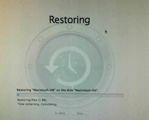 Image depicting Restoring progress bar.