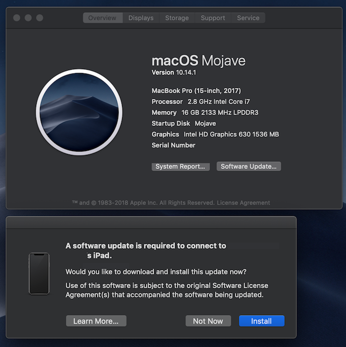 """Image of """"A software update is required to connect to your iPad"""" pop up message."""