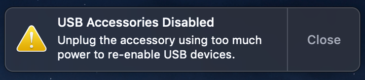 """Image of """"USB Accessories Disabled"""" pop up message."""
