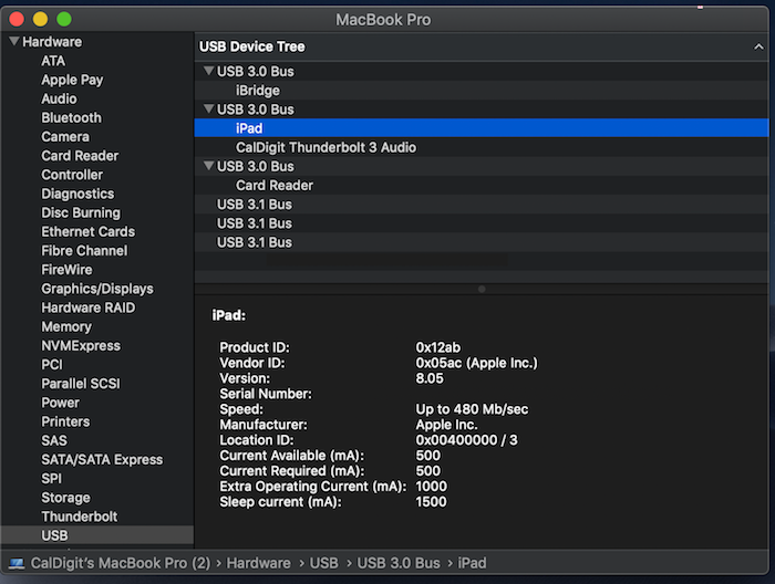 iPad Pro connection to USB 3.0 Bus verified from System Profile window.
