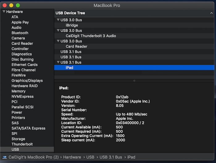 iPad Pro connection to USB 3.1 Bus verified from System Profile window.