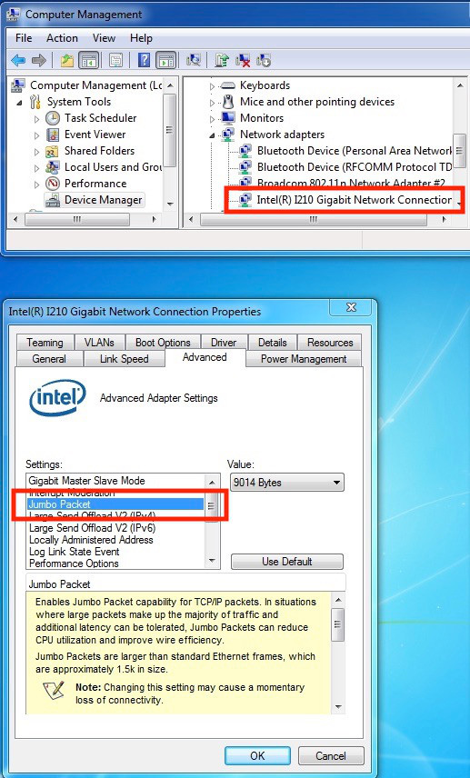 """Network Adapters"" highlighted in Windows Device Manager window. ""Jumbo Packet"" highlighted in the Advanced Tab window."
