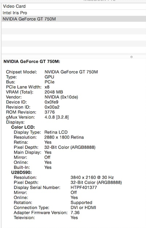 Display settings of a MacBook Pro 11,1 and a Thunderbolt Station 2 HDMI output going to a Samsung U28D590 monitor.