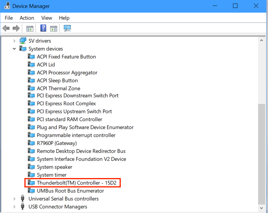 Shows where to find your Thunderbolt controller in Device Manager (as explained above).