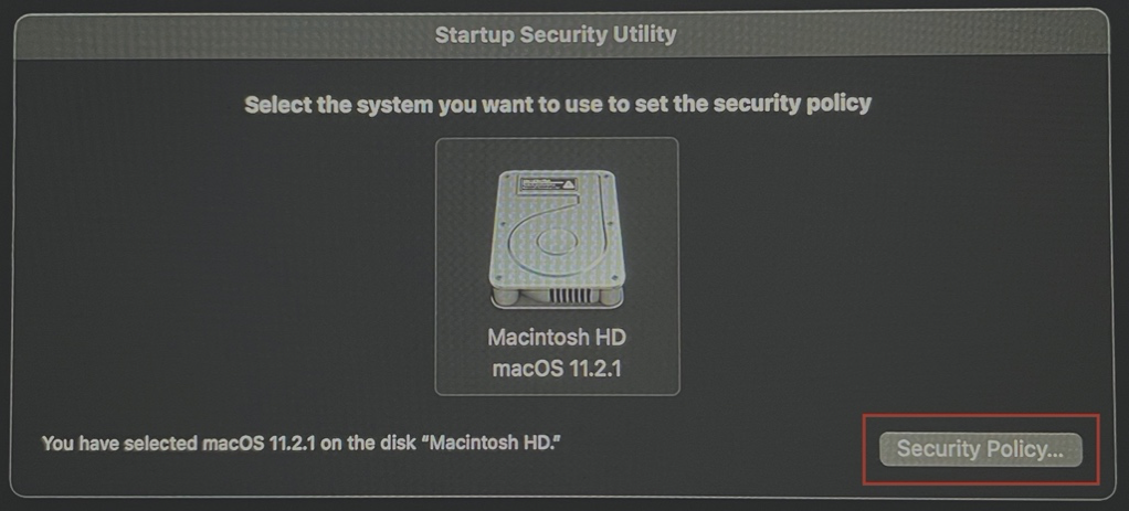 This image highlights the Security Policy option as seen on the Startup Security Utility window.