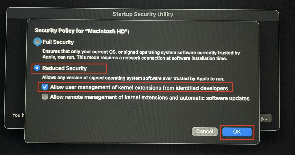 This image highlights the 'Reduced Security' option and the 'Allow user management of kernel extensions from identified developers' option as seen on the Startup Security Utility window.