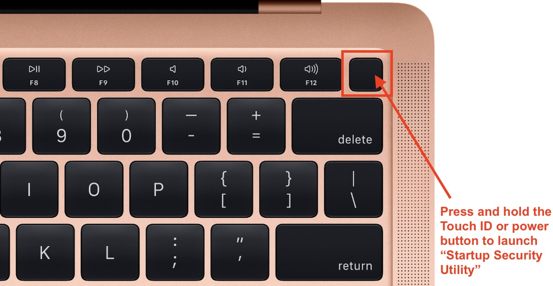 This image highlights the Touch ID or power button as seen on an example keyboard.